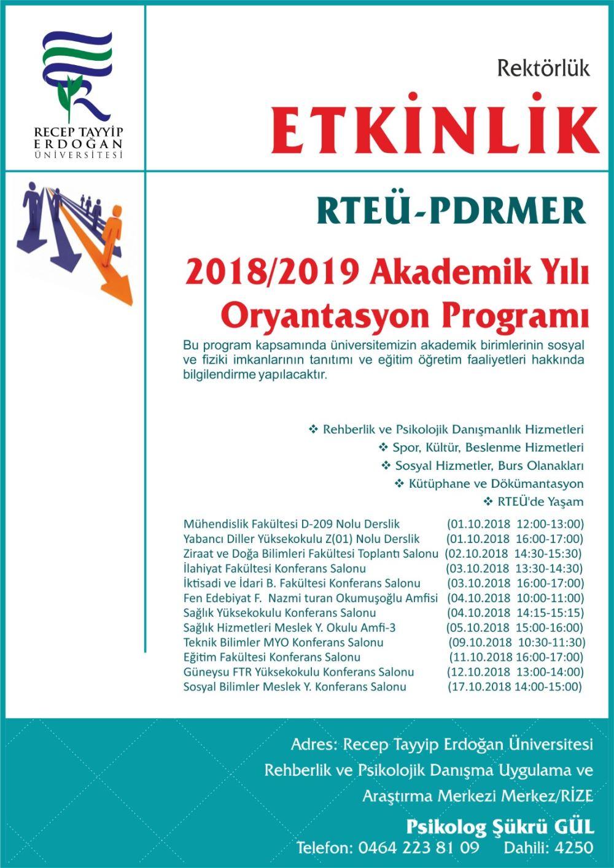 2018-2019 Akademik Yılı Oryantasyon Programı